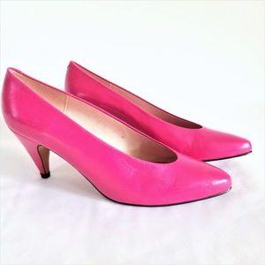 Evan-Picone 80/90's Neon Pink Leather Pump 7M